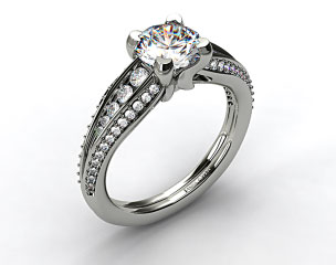 14k White Gold Half Moon Split Shank Engagement Ring