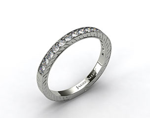 18K White Gold 0.21ct Round Pave Set Diamond Wedding Ring