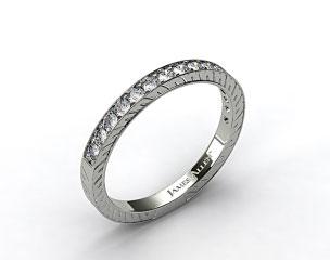 18K White Gold 0.21ct Round Pave Set Diamond Wedding Ring