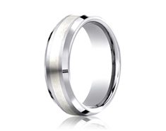 Cobaltchrome - Silver 7mm Comfort-Fit Satin-Finished Silver Inlay Design Ring 11551CO