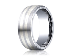 Cobaltchrome - Silver 8mm Comfort-Fit Satin-Finished Parallel Silver Inlay Design Ring 11552CO