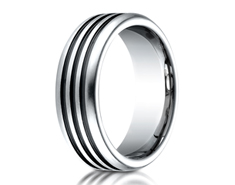 Cobaltchrome  7.5mm Comfort-Fit 3 Black Channel Design Ring 11564CO