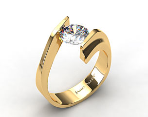 14k Yellow Gold Gentle Curve Tension Set Engagement Ring