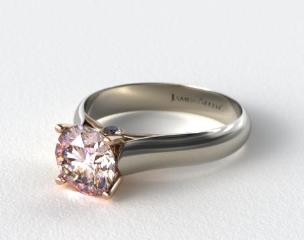 18k White Gold Surprise Diamond Solitaire Engagement Ring (Rose Gold Basket)