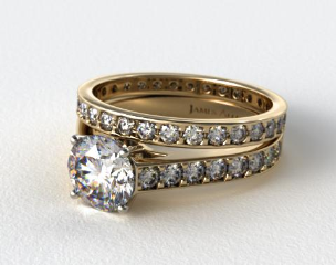 18k Yellow Gold 0.35ct Pave Cathedral Engagement Ring & 0.61ct Pave Eternity Ring