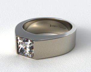 Platinum Designer Bar Princess Shaped Solitaire Engagement Ring