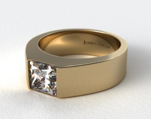 18k Yellow Gold Designer Bar Princess Shaped Solitaire Engagement Ring