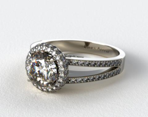 Platinum Pave Split Shank Halo Diamond Engagement Ring