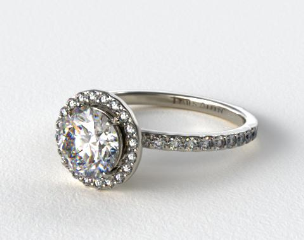 14k White Gold 0.39ct Diamond Halo Pave Engagement Ring