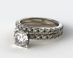 Platinum 0.54ct French Cut Pave Diamond Eternity Ring & Matching 0.56ct French Cut Eternity Band
