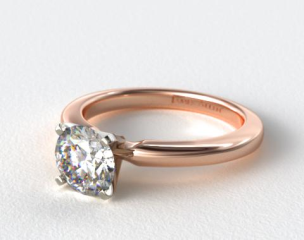 14K Rose Gold 2mm Comfort Fit Solitaire Engagement Ring