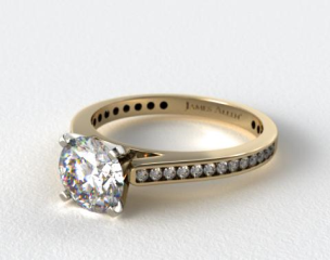 14k Yellow Gold Thin Channel Set Round Shaped Diamond Engagement Ring