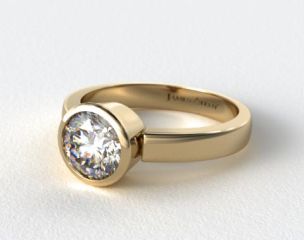 18k Yellow Gold Bezel Set Round Shaped Diamond Solitaire Ring