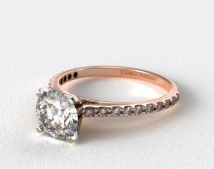 14K Rose Gold 0.54ct Common Prong Round Shaped Diamond Engagement Ring