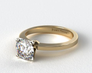 14k Yellow Gold Cathedral Reverse Tapered Diamond Engagement Ring
