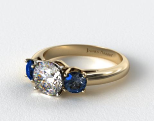 14k Yellow Gold Three Stone Round Blue Sapphire Engagement Ring