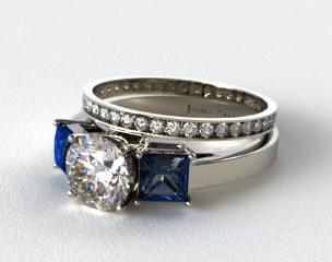 Platinum Three Stone Princess Shaped Blue Sapphire Engagement Ring & 0.26ct Pave Eternity Band