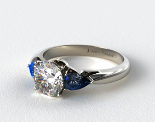 Platinum Three Stone Pear Shaped Blue Sapphire Engagement Ring