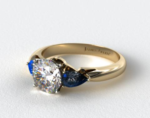 14k Yellow Gold Three Stone Pear Shaped Blue Sapphire Engagement Ring