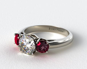 18k White Gold Three Stone Round Ruby Engagement Ring