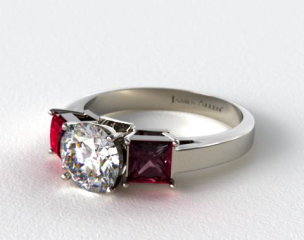 Platinum Three Stone Princess Shaped Ruby Engagement Ring