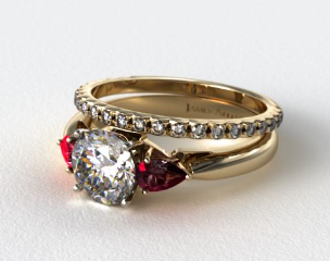 18k Yellow Gold 3-Stone Pear Ruby Engagement Ring & French Cut Pave Diamond Wedding Ring