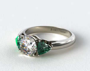 14k White Gold Three Stone Trillion Shaped Emerald Engagement Ring