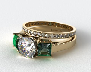 18k Yellow Gold 3-Stone Carre Cut Emerald Engagement Ring & 0.26ct Pave Eternity Band
