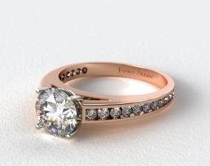 14K Rose Gold Channel Set Round Diamond Engagement Ring