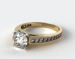 14k Yellow Gold Channel Set Princess Shaped Diamond Engagement Ring