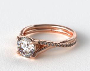 14K Rose Gold Twisted Pave Shank Contemporary Solitaire