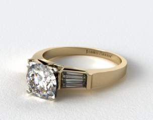 14k Yellow Gold Tapered Baguette Diamond Engagement Ring