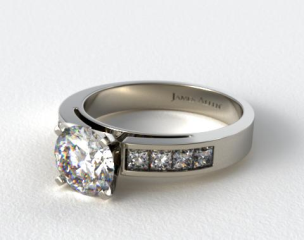18k White Gold Channel Set Princess Shaped Engagement Ring