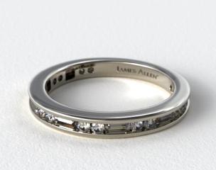 18K White Gold Alternating Baguette and Round Diamond Wedding Ring