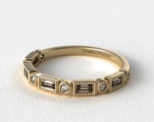 14K Yellow Gold Round and Baguette Vintage Milgrain Diamond Wedding Ring