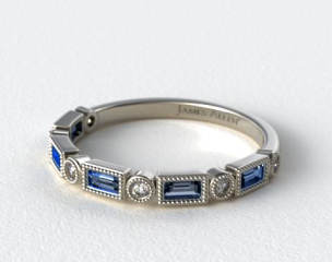 Platinum Round and Sapphire Baguette Milgrain Diamond Wedding Ring