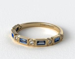 14K Yellow Gold Round and Sapphire Baguette Milgrain Diamond Wedding Ring