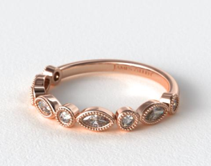 14K Rose Gold Round and Marquise Diamond Wedding Ring