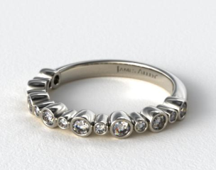 Platinum Alternating Bezel  Wedding Ring