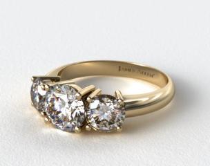18K Yellow Gold 1.00 Carat Total Weight Three Stone Diamond Engagement Ring