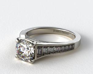 14K White Gold Tapered Baguette Diamond Engagement Ring