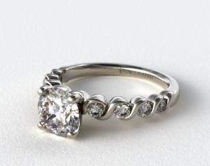 18K White Gold Eight Stone Diamond Engagement Ring