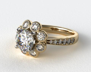 Vintage Flower Halo Engagement Ring