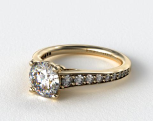 18K Yellow Gold Inispired Diamond Engagement Ring