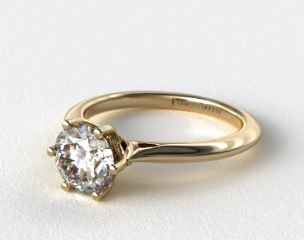 18K Yellow Gold Intricate Basket Knife Edge Engagement Ring