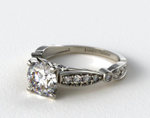 18K White Gold Embossed Diamond Engagement Ring