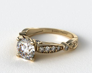 18K Yellow Gold Embossed Diamond Engagement Ring