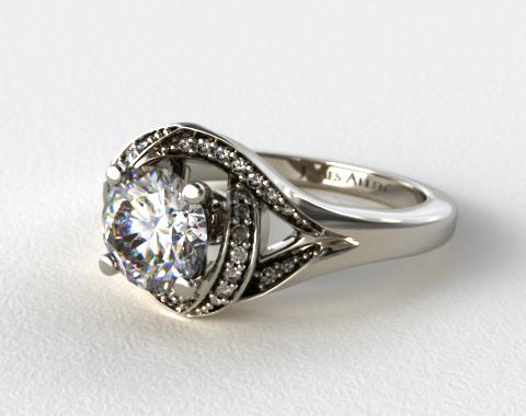 engagement rings pave 14k white gold love knot diamond