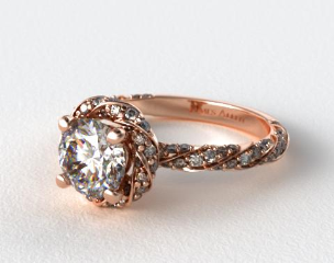 14K Rose Gold Twisted Pave Halo Engagement Ring