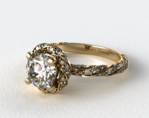 14K Yellow Gold Twisted Pave Halo Engagement Ring